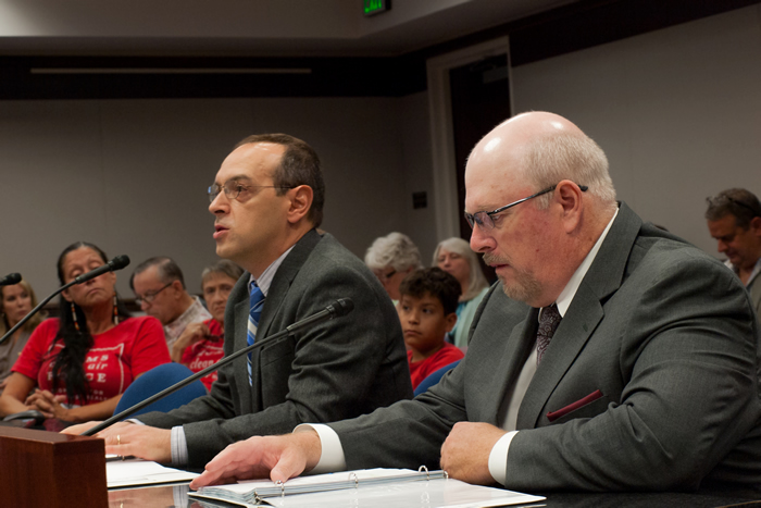 Two NDEP staff members present an air penalty to the State Environmental Commission